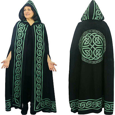 Wiccan Ritual Green Celtic Knot Full Length Hooded Cape, Pagan Ceremonial Cloak