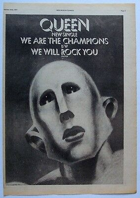 QUEEN 1977 Poster Ad WE ARE THE CHAMPIONS we will rock you