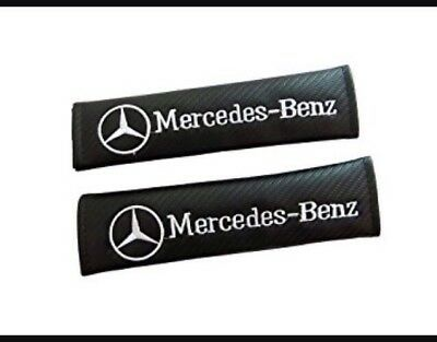 2pcs M.Benz Carbon Fiber Car Seat Belt Cover Pads Shoulder Cushion Mercedes Benz