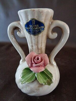 Small Nuova Capodimante Vase With Rose Flower Accent