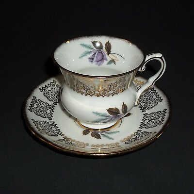 Lovely Royal Stafford Bone China Tea Cup Purple Flowers and a Lot of Gold