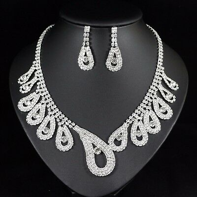 Art Deco Clear Austrian Rhinestone Necklace Earring Set Bridal Prom Pageant N70