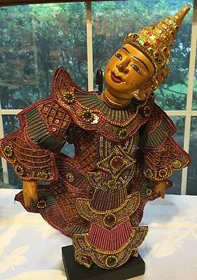 """Oriental Vintage Puppet Marionette Collectible With Stand 14"""" Burmese"""