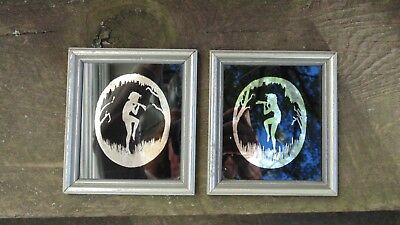 Vintage Lot of 2 Mirrored Silhouette Pictures Pan Satyrs