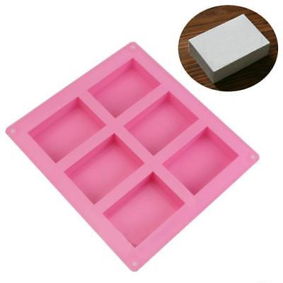 6 Cavity Rectangle Soap Mold Silicone Craft Making Homemade Cake Mould Tray JA