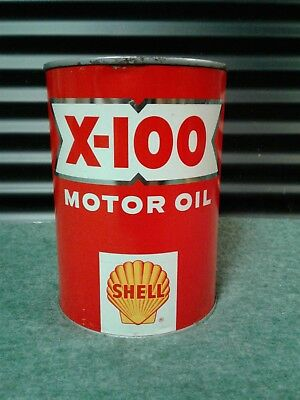 Vintage NOS 1950's SHELL X100 SAE 10W 1QT. MOTOR OIL CAN / UNOPENED - FULL
