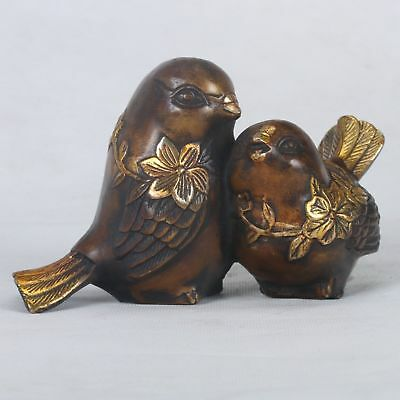 Chinese Copper Handwork Carved Two Gilt Birds Statue HT005