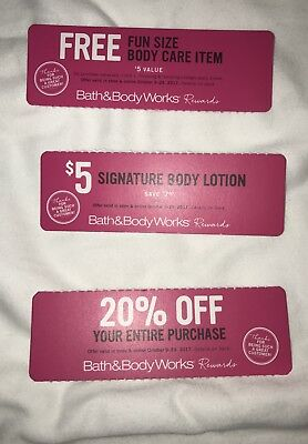 3 Bath and Body Works Coupons: For October 9-29, 2017 see message in description