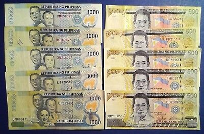 PHILIPPINES: Set of 10 Piso Banknotes Very Fine Condition