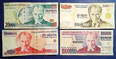 TURKEY: Set of 4 Lira Banknotes - Fine to Very Fine Condition
