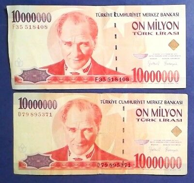 TURKEY: 2 x 10 Million Lira Banknotes - Very Fine Condition
