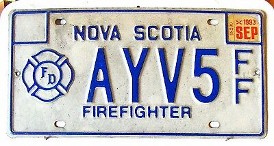 NOVA SCOTIA License Plate Tag 1993 FIREFIGHER plate   - Low Shipping
