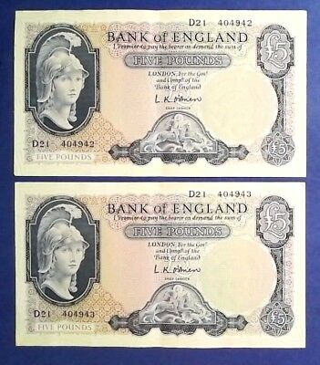 ENGLAND: 2 x £5 Bank of England Banknotes - Extremely Fine & Consecutive