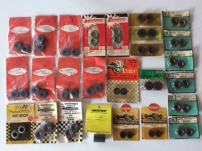 50+ 1/24 & 1/32 NOS Vintage Slot Car Tyres. New Old Stock. COX, DYNAMIC, RUSSKIT