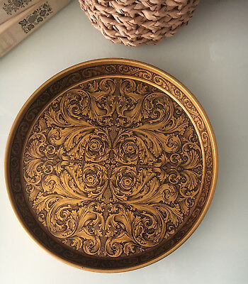 Vintage Mid Century Metal Drinks Serving Tray Black and Gold