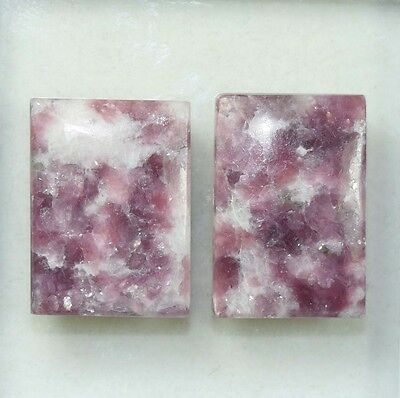 Pair  43.85 Cts. 100 % Natural Lepidolite Untreated Cushion Cab Loose Gemstones