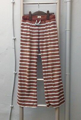 Mini Boden Girls Striped Blue Brown Cotton Joggers/Trousers Age 11 Years