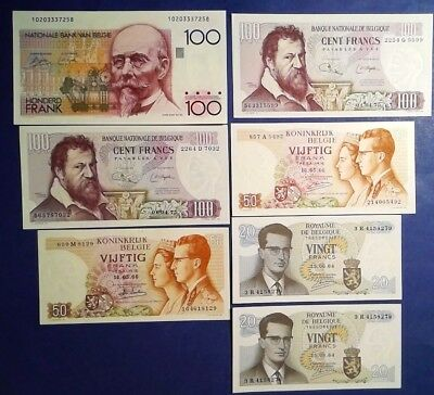 BELGIUM: Set of 7 Franc Banknotes - Uncirculated Condition
