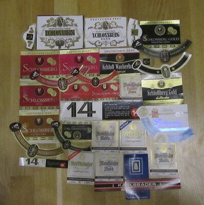 Lot of different wine and etc labels