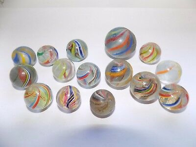 15 x VICTORIAN GLASS MARBLES 21-34 mm DIA LATTICINO SWIRL GROUND PONTILS