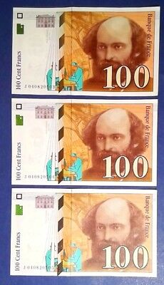 FRANCE: 3 x 100 Francs Banknotes Extremely Fine & Consecutive
