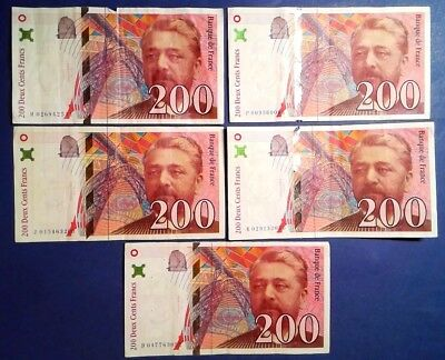 FRANCE: 5 x 200 Francs Banknotes Very Fine Condition