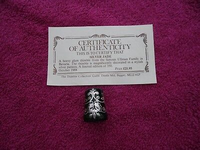 Ullman  Silver Jade  Heavy  Glass Thimble + Certificate Of Authenticity