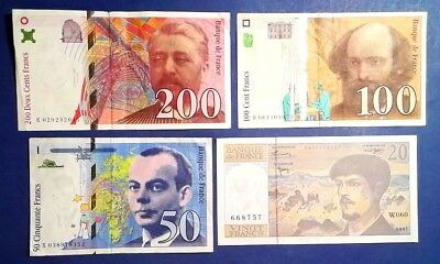 FRANCE: Set of 4 Francs Banknotes Very Fine Condition
