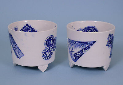 Pair Royal Worcester Aesthetic Movement Match Pots on Feet. c1875.