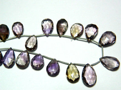Ametrine Faceted Pear Beads Briolletes 9x13mm To 9x16mm Each 19 Pieces 10 Inches