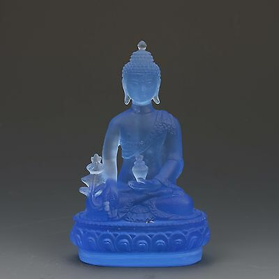 Chinese Glass Handwork Pharmacists Buddha Blue statues gd5845