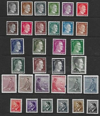 1941/44 Germany Range Of 32 Different Hitler Stamps