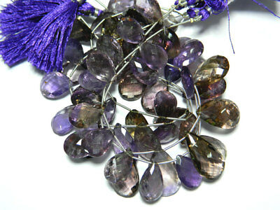 Ametrine Faceted Pear Briolletes 12x21mm To 15x22mm 16 Pieces 9 Inches Strand