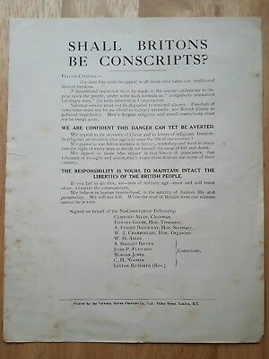 Conscientious Objector Leaflet No-Conscription Fellowship 1916 RARE