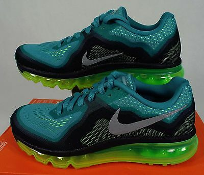 New Womens 9 NIKE Air Max 2014 Teal Flash Lime Running Shoes $180 621078-302