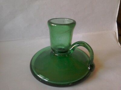 Early Green Glass Chamber Stick...