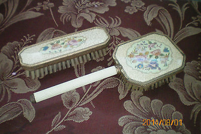 Vintage Brushes Dressing Table Set Two Brushes Embroidery Style