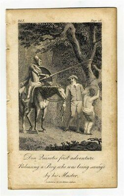 Don Quixote's First Adventure Releasing a Boy  Copper Plate Engraving 1792