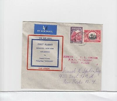 Bermuda:  #111 & 112 Franking Cacheted First Flight Cover -Imperial Airways Flyi