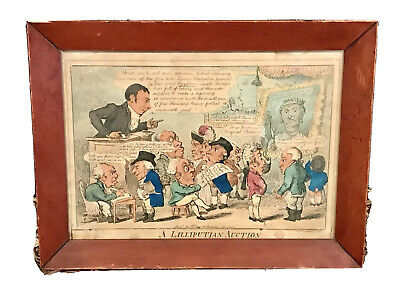 "Rare Vintage Antique Framed Hand-Colored Print ""A Lilliputian Auction"" 16""by12"""