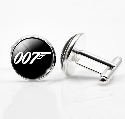 MEN'S  007 figure James Bond movement Silver Cufflinks Cuff Link Wedding Gift