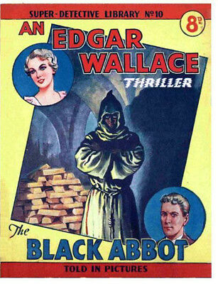 SUPER DETECTIVE LIBRARY No.10 THE BLACK ABBOT - EDGAR WALLACE  Facsimile Comic