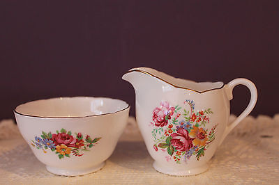 Beautiful Royal Adderley Cream And Sugar - Floral - Ridgway Potteries