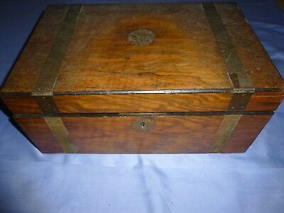 Antique Vintage Collectable Walnut Writing Slope Desk Top Storage Box + Contents