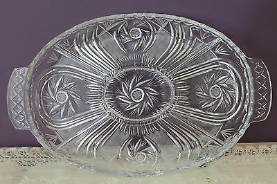 Gorgeous Vintage Pinwheel Lead Crystal 5 Section Oval Handled Dish