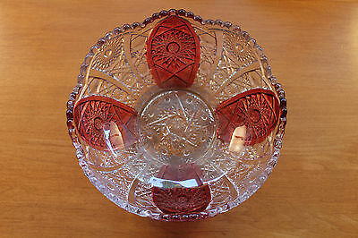 Lovely Imperial Glass Bowl Clear With Ruby Flash Hobstar