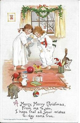 "Frances Brundage.  ""A Merry Merry Christmas"" Vintage Postcard unused Series 229"