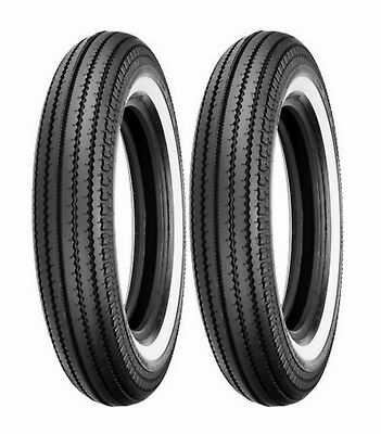 (2) Shinko 5.00-16 Classic 270 Front & Rear White Wall Tire Set Customs Bobbers