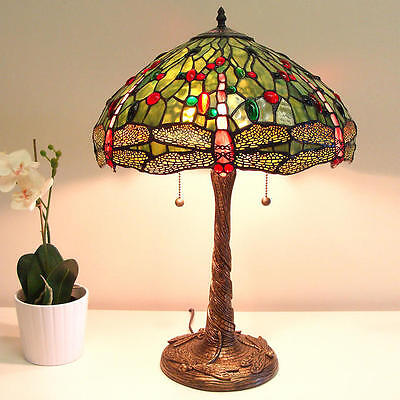 New Reproduction Tiffany Style Green Dragonfly Lamp 441 cuts of stained glass