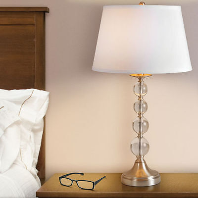 Table Lamp Spheres of Solid Crystal, Brushed Chrome Base 2 Pack